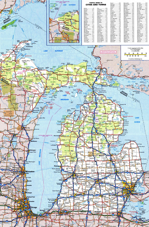 Large detailed roads and highways map of Michigan state with all cities.