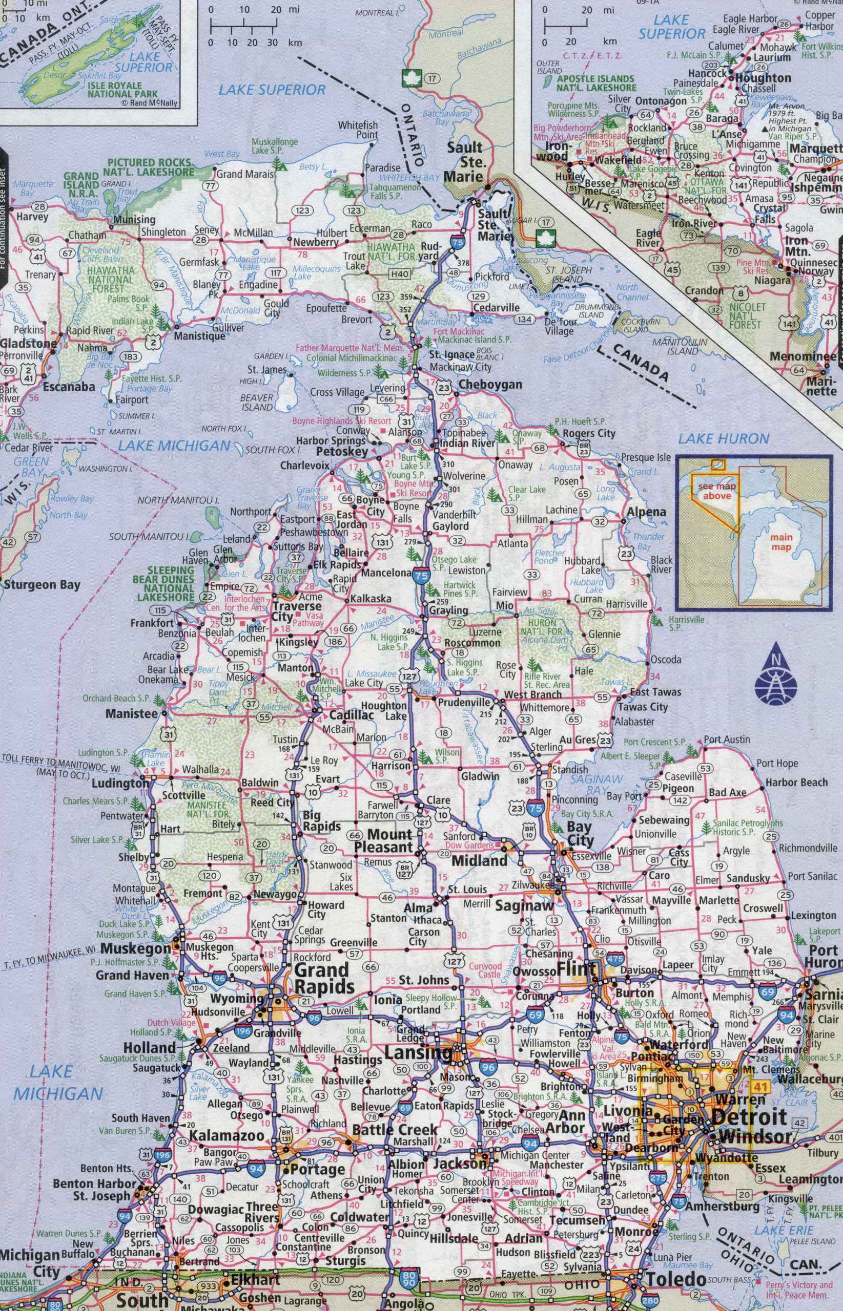 Large detailed roads and highways map of Michigan state with cities