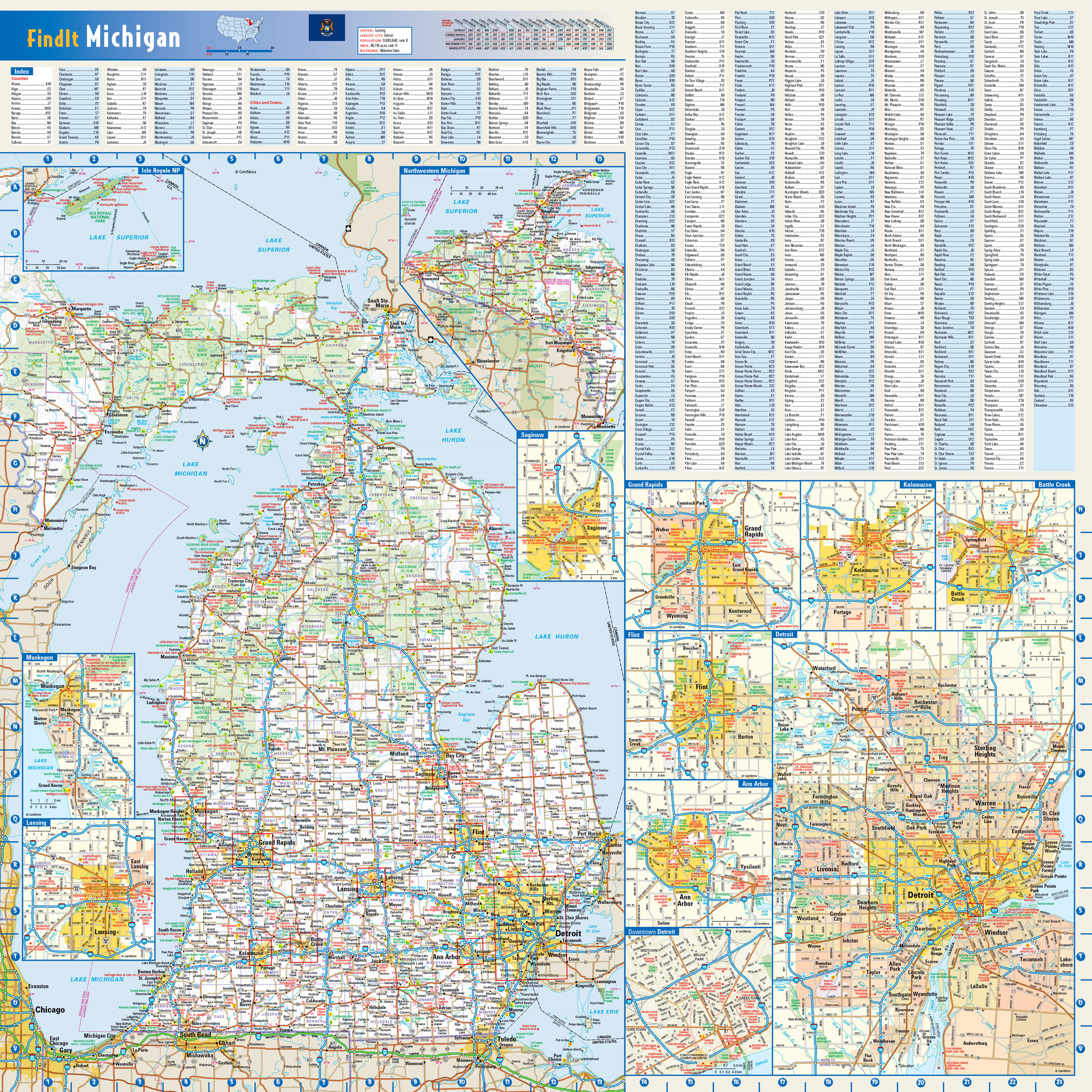 Large detailed roads and highways map of Michigan state with