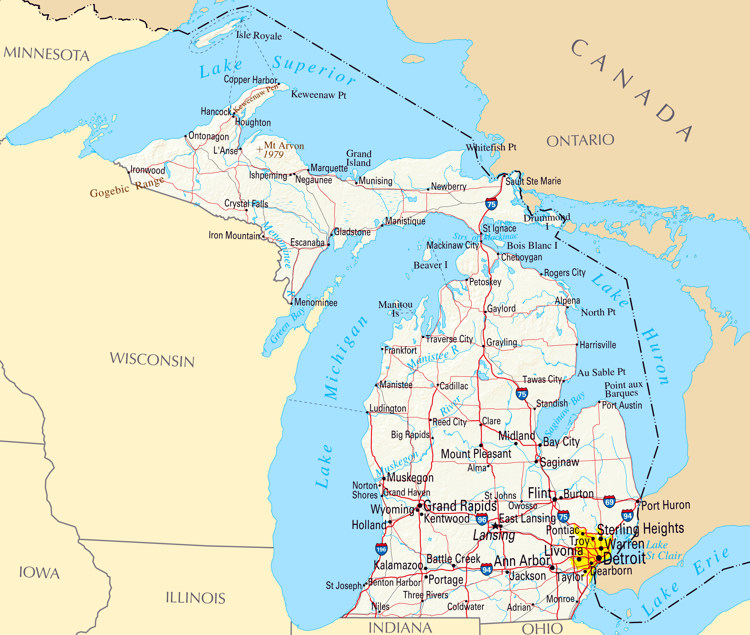 Large map of Michigan state with relief, highways and major cities ...