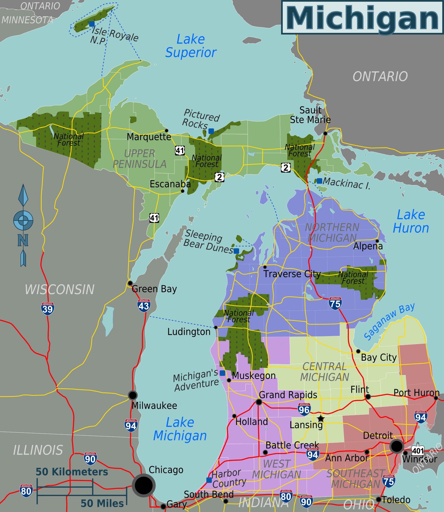 Large regions map of Michigan state. Michigan state large regions ...