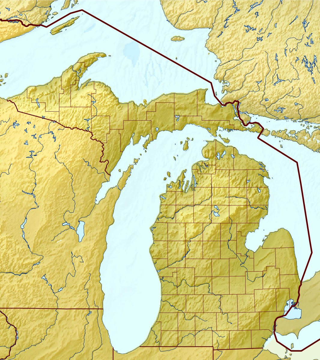 Large relief map of Michigan state Michigan state large relief