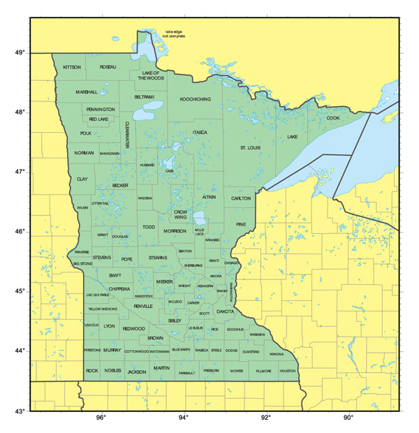 Detailed administrative map of Minnesota state.