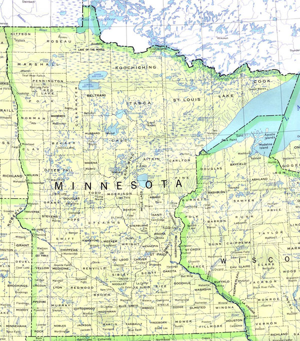 Detailed map of Minnesota state. Minnesota state detailed map.