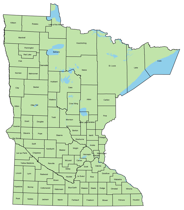 Large administrative map of Minnesota. Minnesota large administrative map.