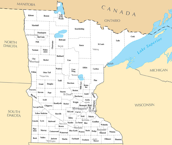 Large administrative map of Minnesota state.