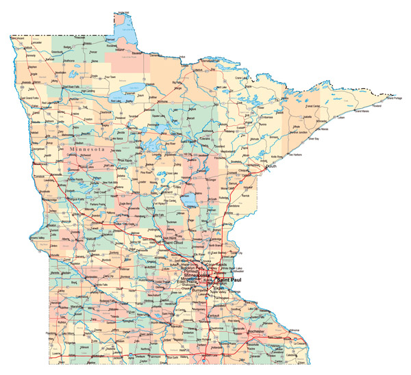Large administrative map of Minnesota state with roads, highways and major cities.