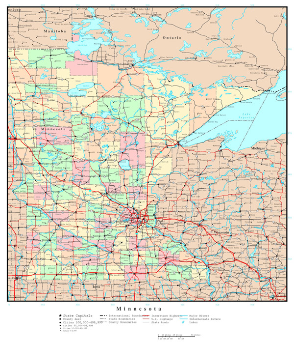 Large detailed administrative map of Minnesota state with roads, highways and all cities.