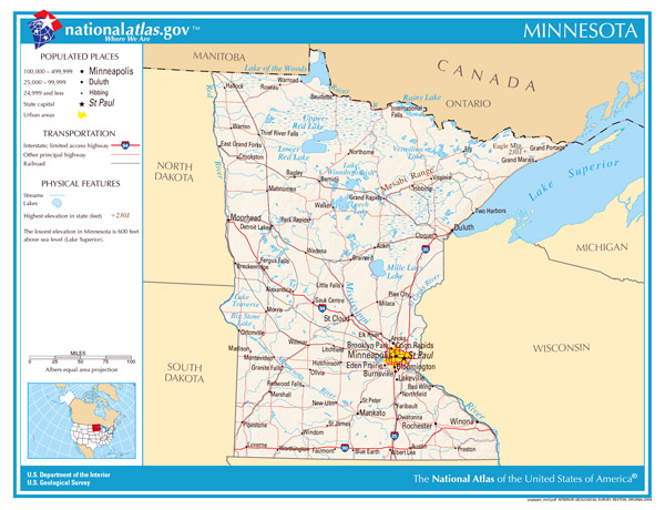 Large detailed map of Minnesota state. Minnesota state large detailed map.
