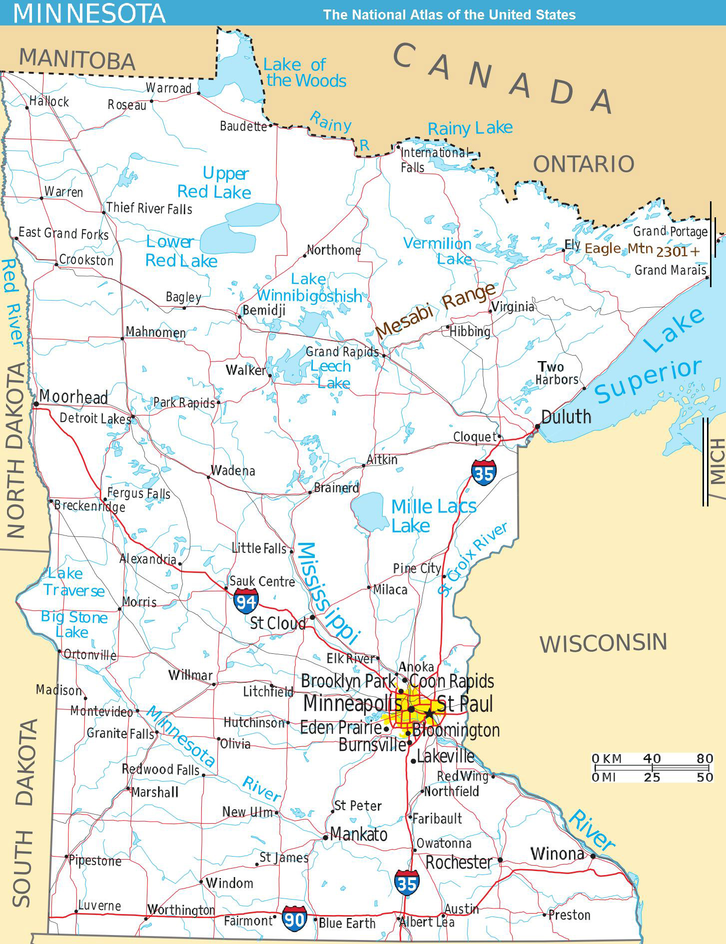 Large Detailed Map Of Minnesota State With Roads And Major