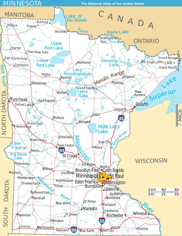 Large detailed map of Minnesota state with roads and major cities.