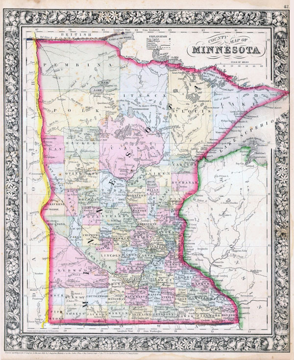 Large detailed old administrative map of Minnesota state - 1864.