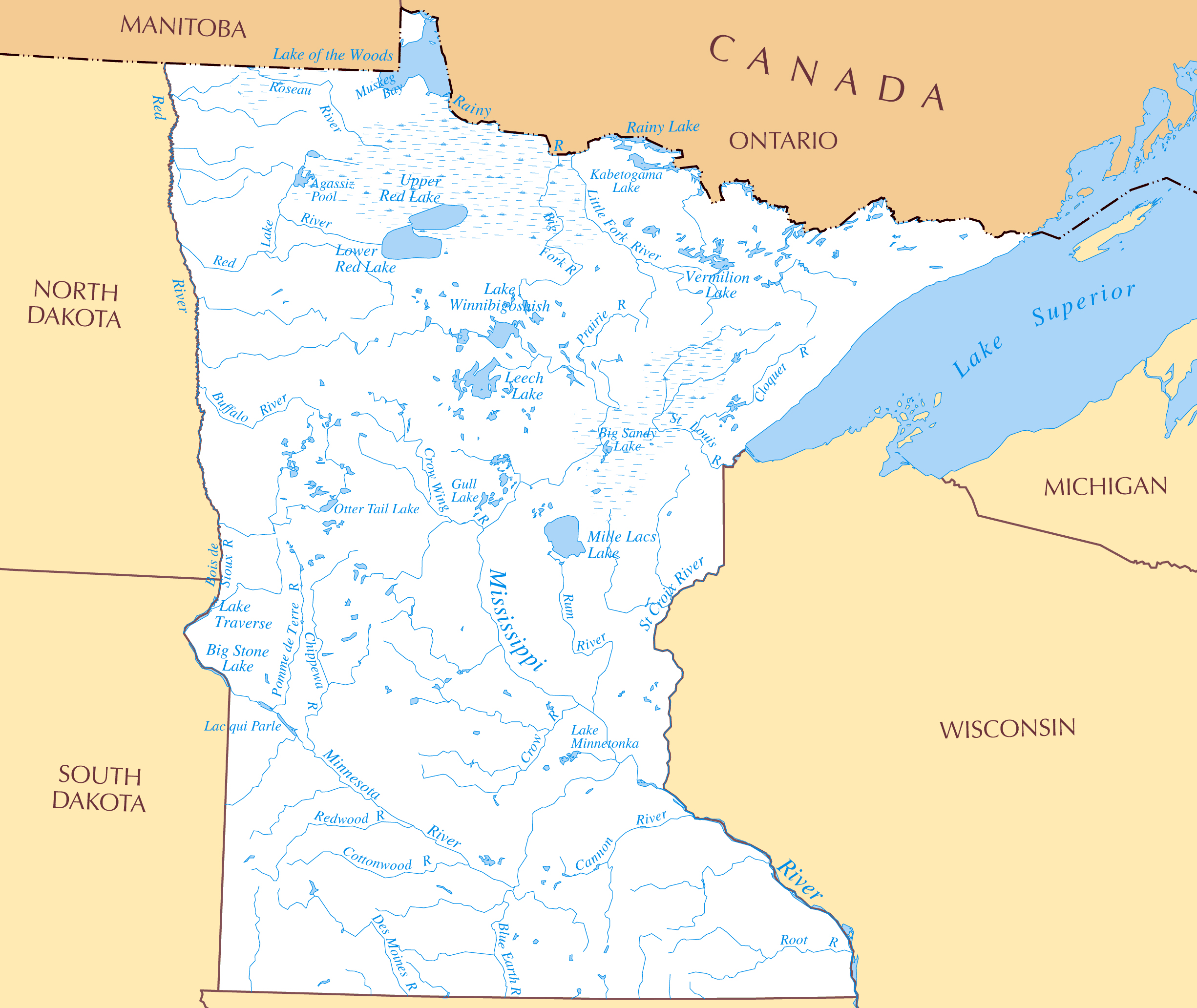 Large detailed rivers and lakes map of Minnesota state  Vidiani