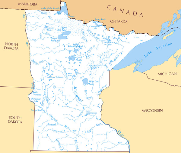 Large detailed rivers and lakes map of Minnesota state.