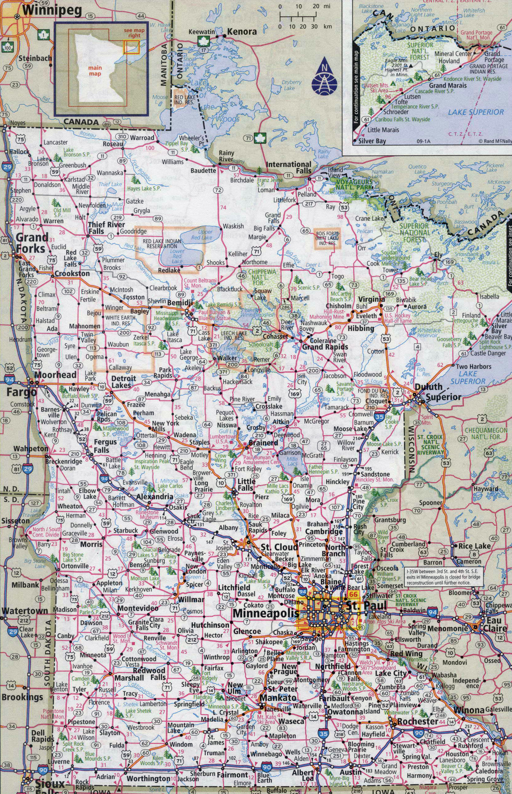 Large Detailed Roads And Highways Map Of Minnesota State
