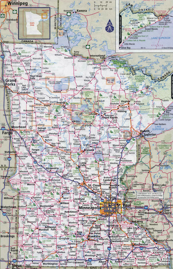 Large detailed roads and highways map of Minnesota state with cities.