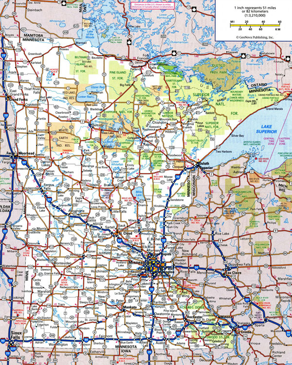 Large detailed roads and highways map of Minnesota state with national parks and all cities.