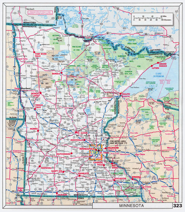 Large scale roads and highways map of Minnesota state with national parks and cities.
