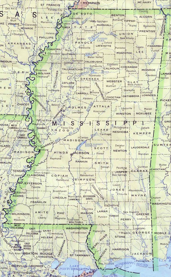 Detailed map of Mississippi state. Mississippi state detailed map.