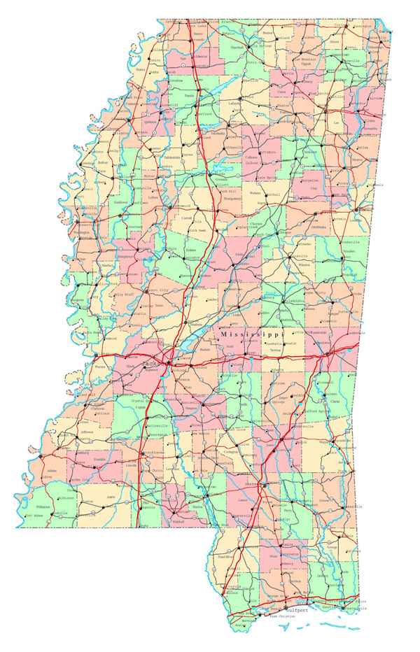 Large detailed administrative map of Mississippi state with roads, highways and cities.