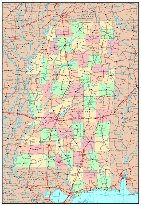 Large detailed administrative map of Mississippi state with roads, highways and major cities.