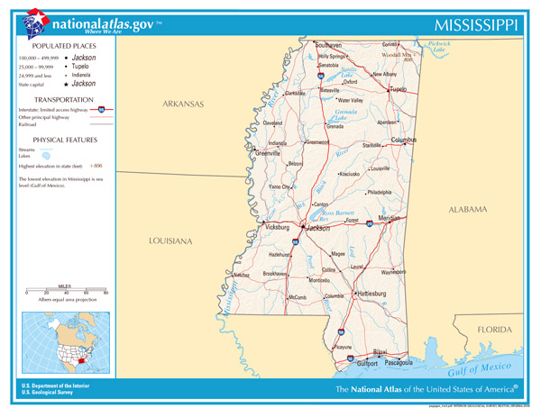 Large detailed map of Mississippi state. Mississippi state large detailed map.
