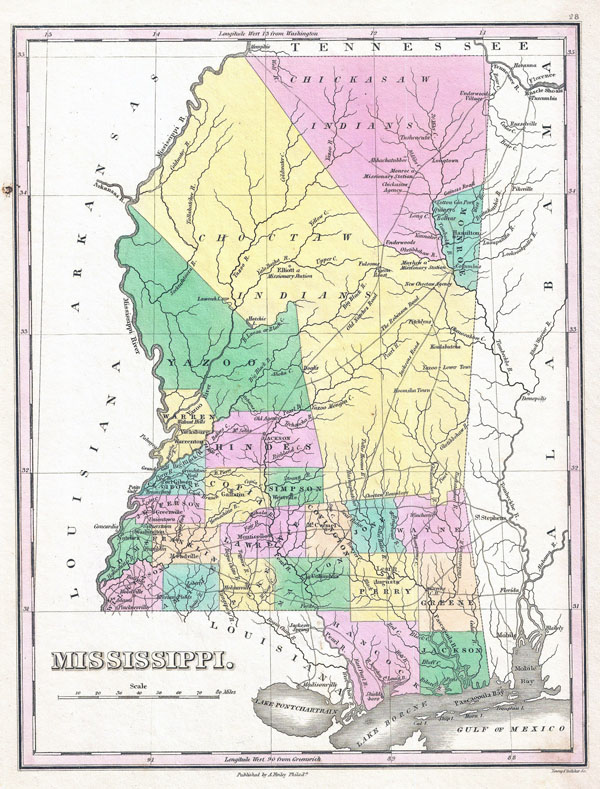 Large detailed old administrative map of Mississippi state - 1827.