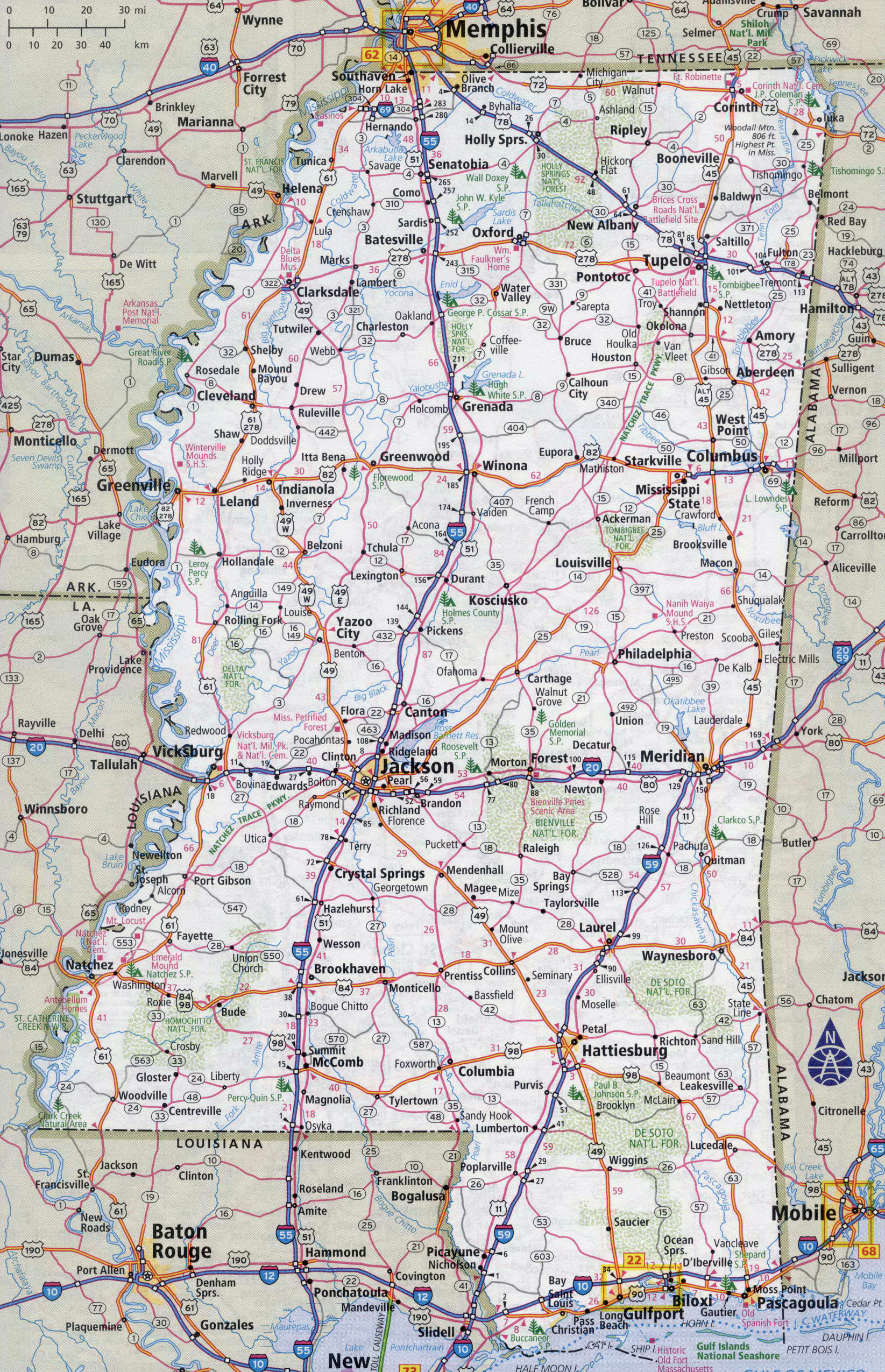 Large Detailed Roads And Highways Map Of Mississippi State With - Maps mississippi