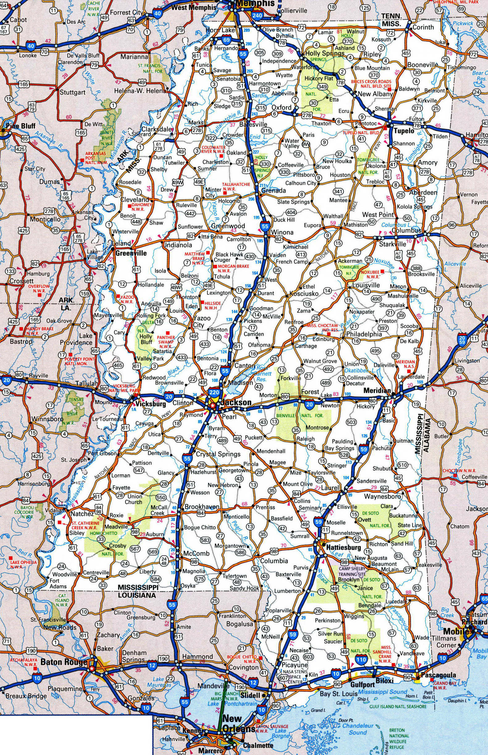 Large Detailed Roads And Highways Map Of Mississippi State With - Detailed usa map with states and cities