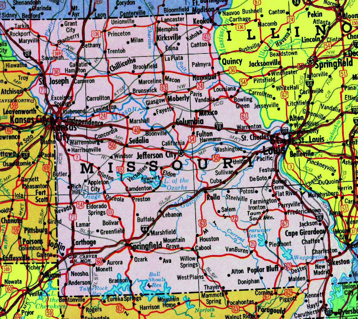Detailed Map Of Missouri State With Highways Vidiani Com Maps Of