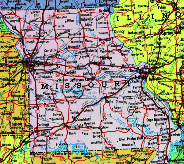 Detailed map of Missouri state with highways.