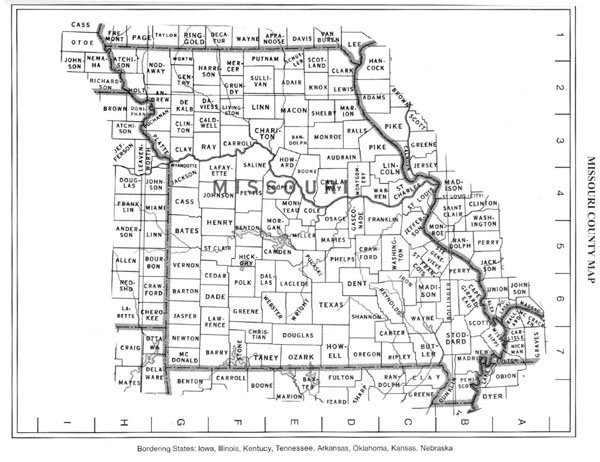 Detailed Missouri state county map.