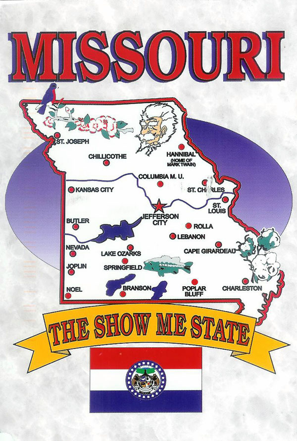 Detailed tourist illustrared map of Missouri state.