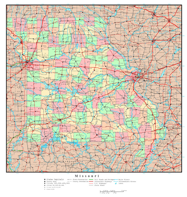 Large detailed administrative map of Missouri state with roads, highways and major cities.