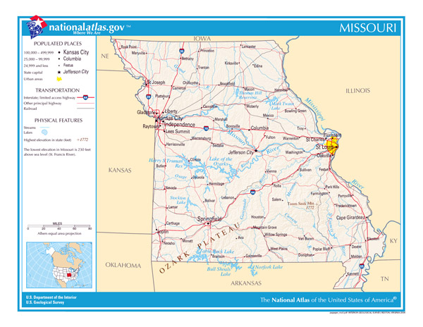 Large detailed map of Missouri state. Missouri state large detailed map.