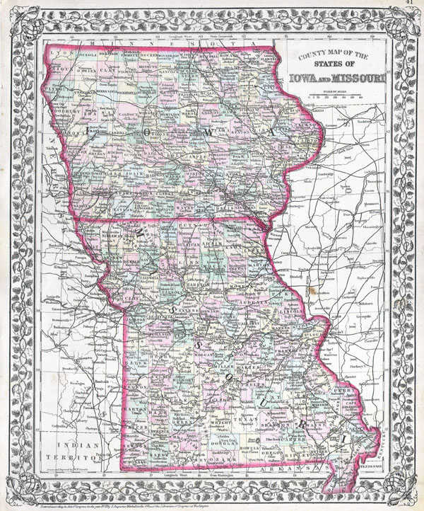 Large detailed old administrative map of Iowa and Missouri states - 1874.