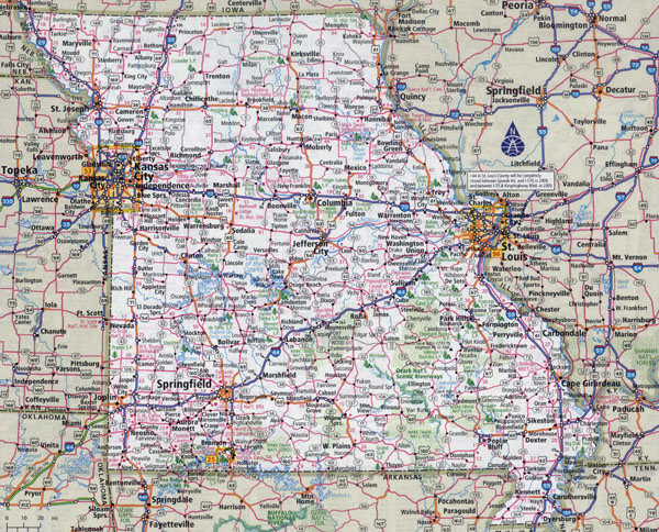 Large detailed roads and highways map of Missouri state with all cities.