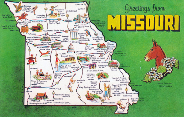 Large detailed tourist map Missouri state.