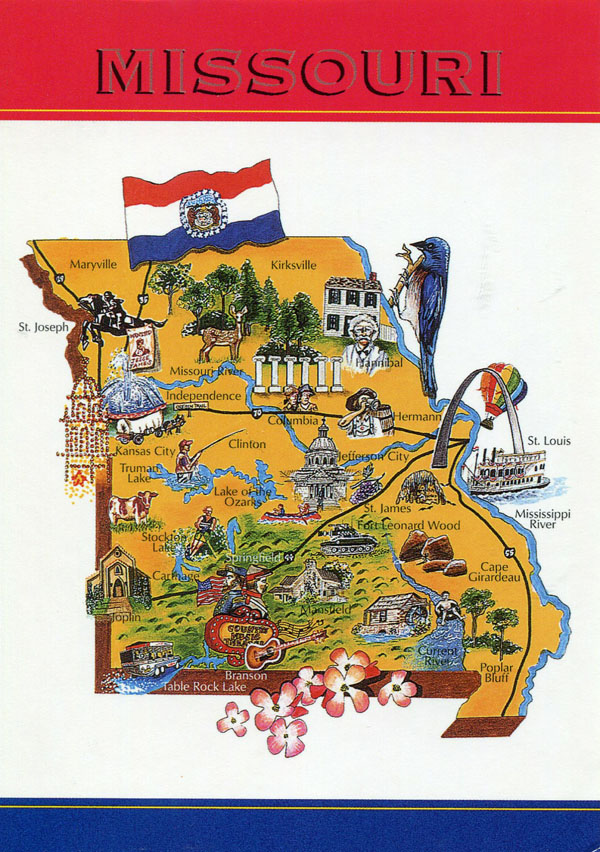 Large tourist illustrated map of Missouri state.