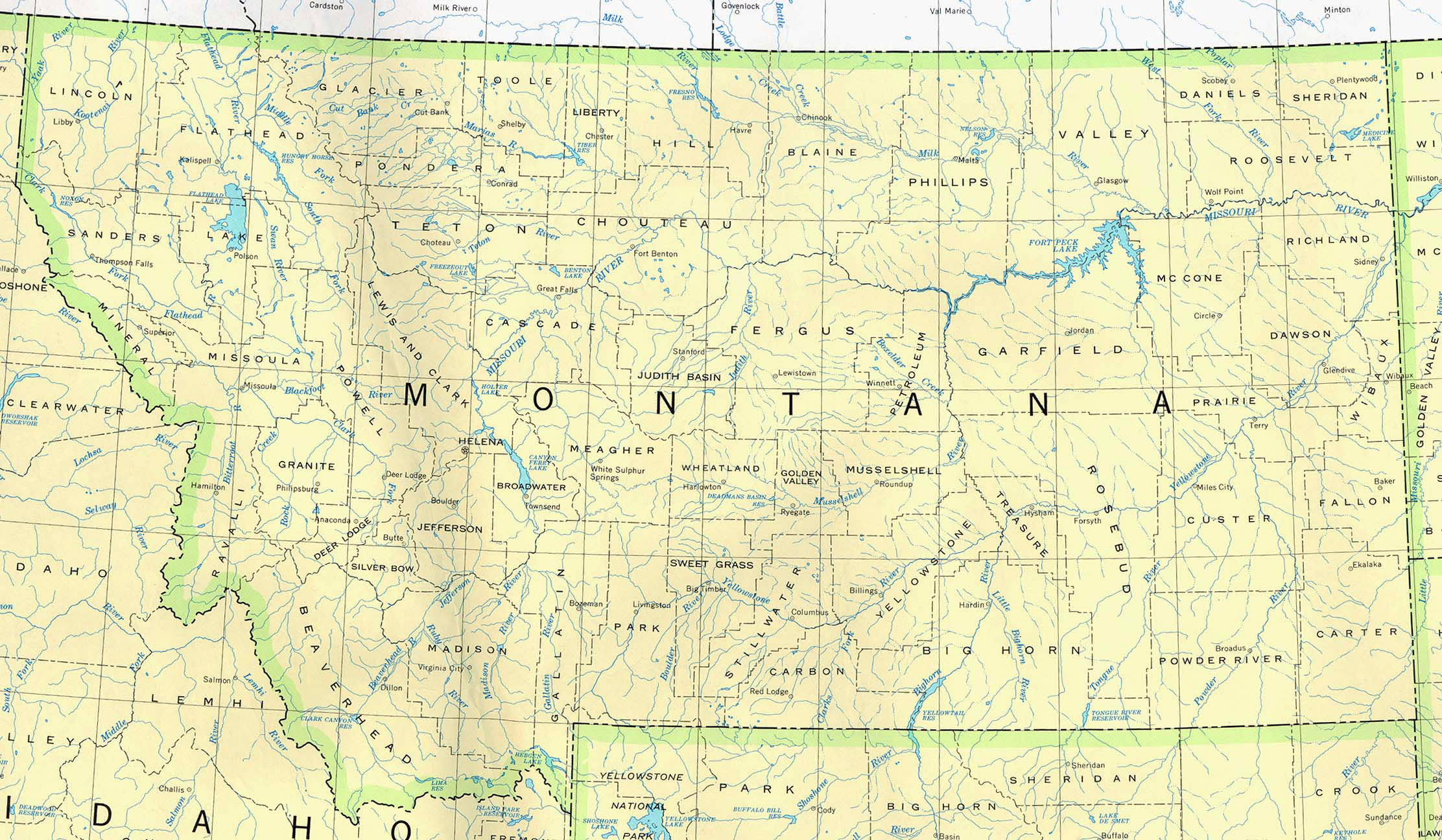 Detailed map of Montana state. Montana state detailed map | Vidiani ...