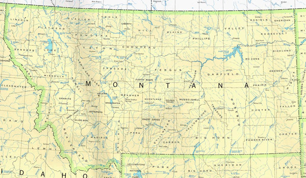 Detailed map of Montana state. Montana state detailed map.