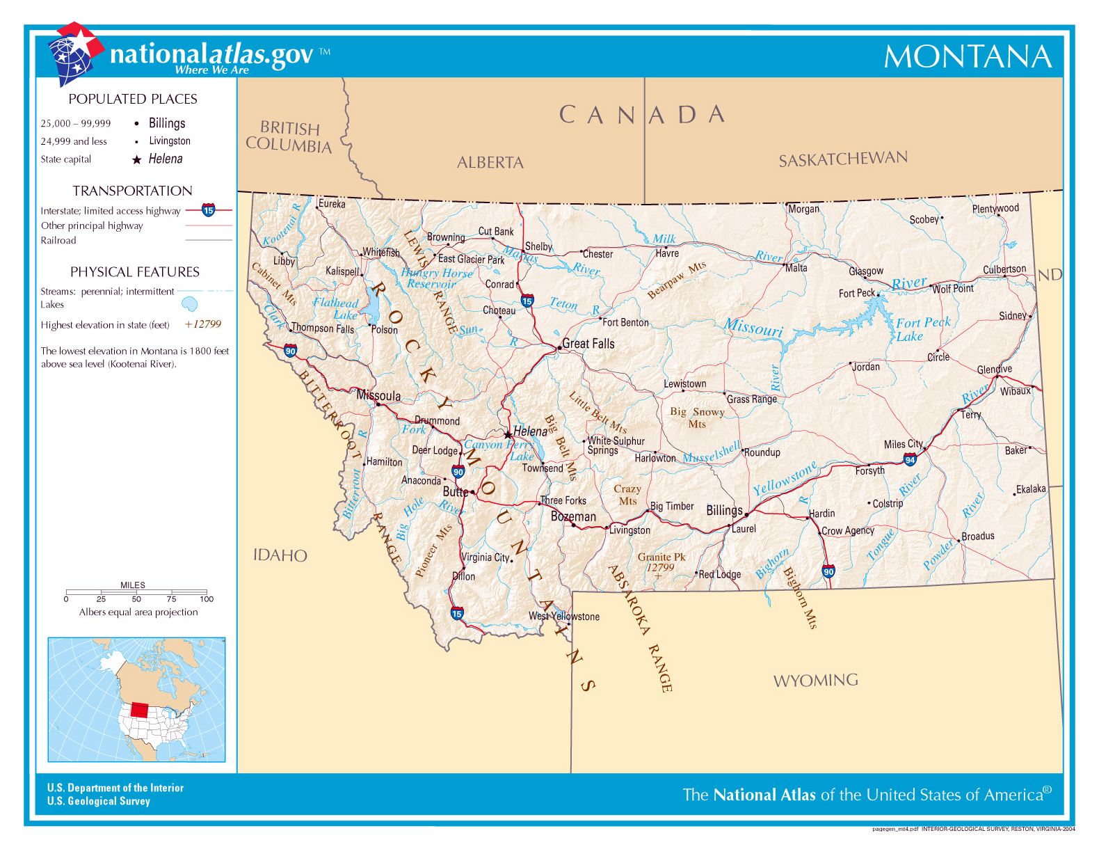Detailed Map Of Montana on