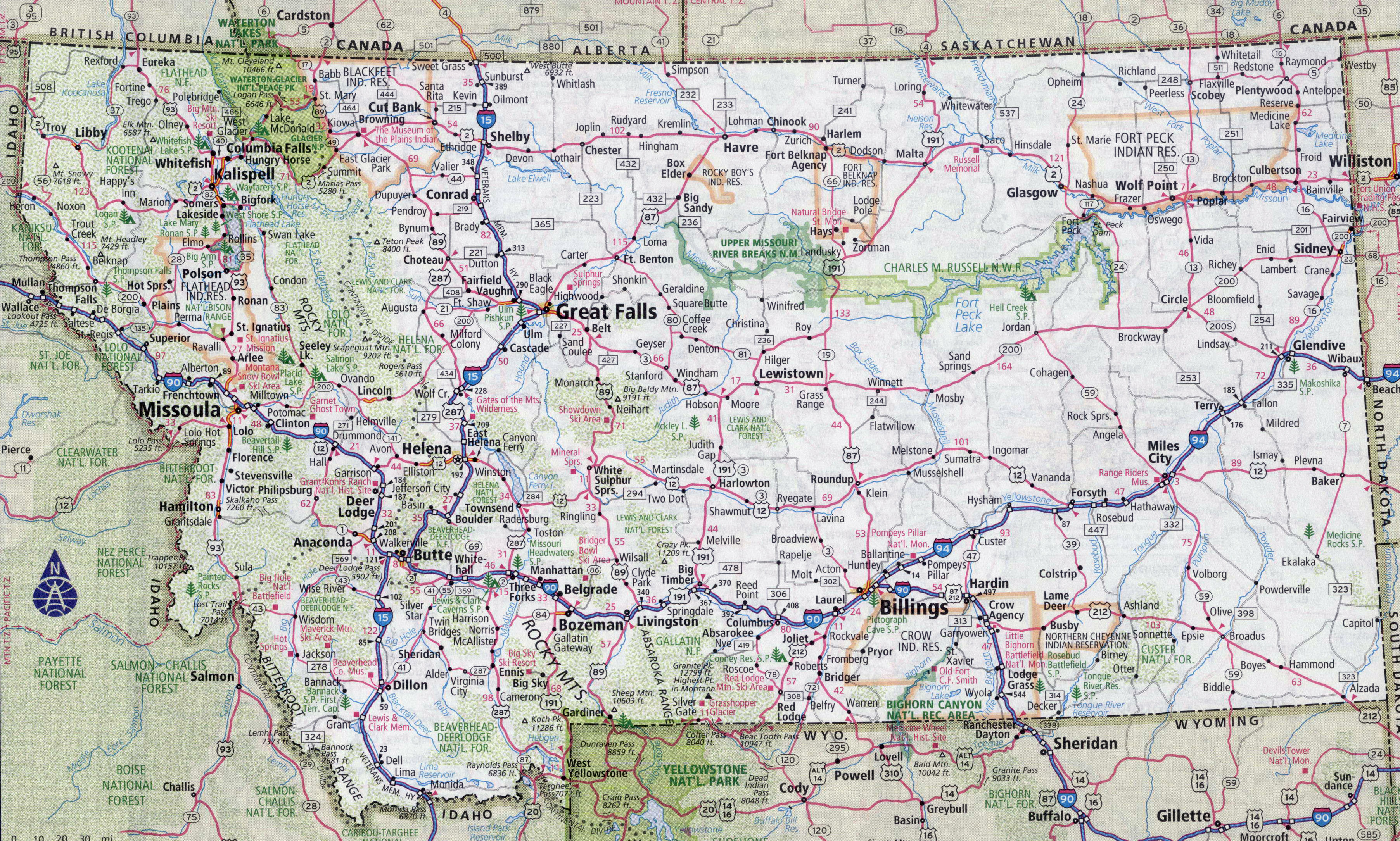 Large Detailed Roads And Highways Map Of Montana State With Cities - Large detailed us map