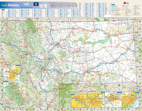 Large detailed roads and highways map of Montana state with national parks and all cities.