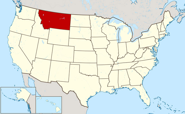 Large location map of Montana state.