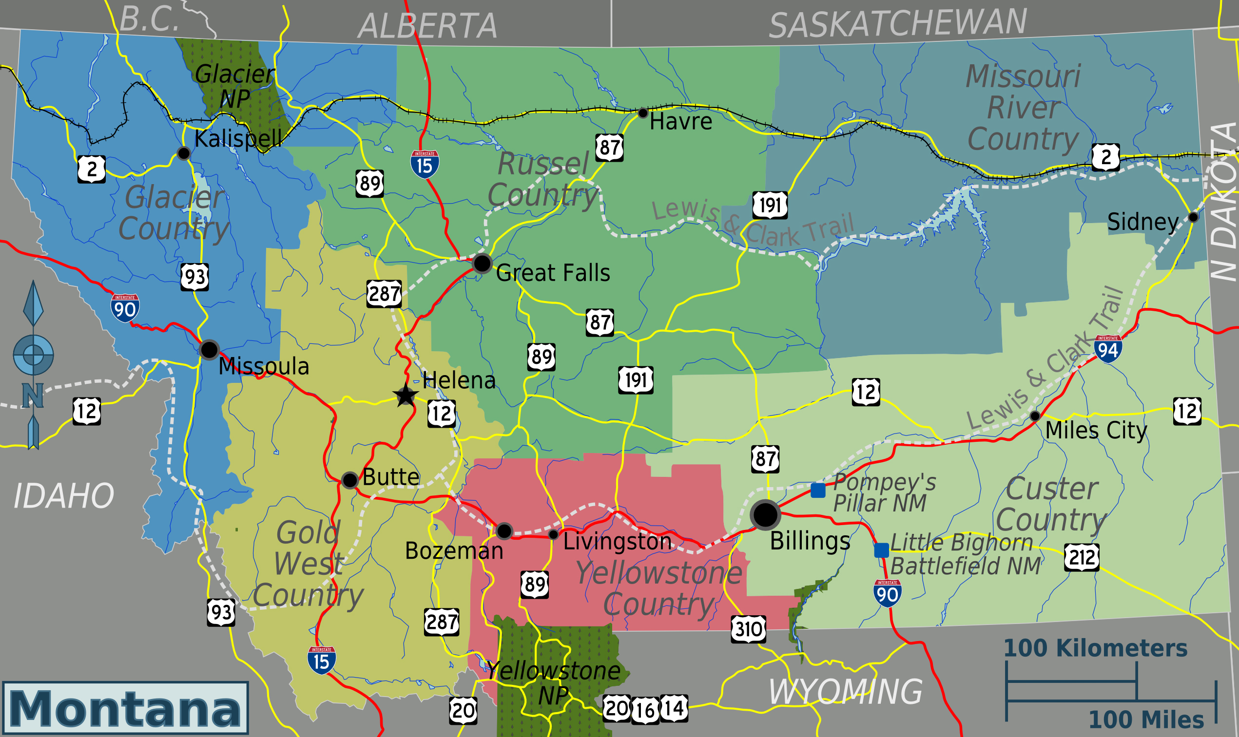 Large regions map of Montana state. Montana state large ...