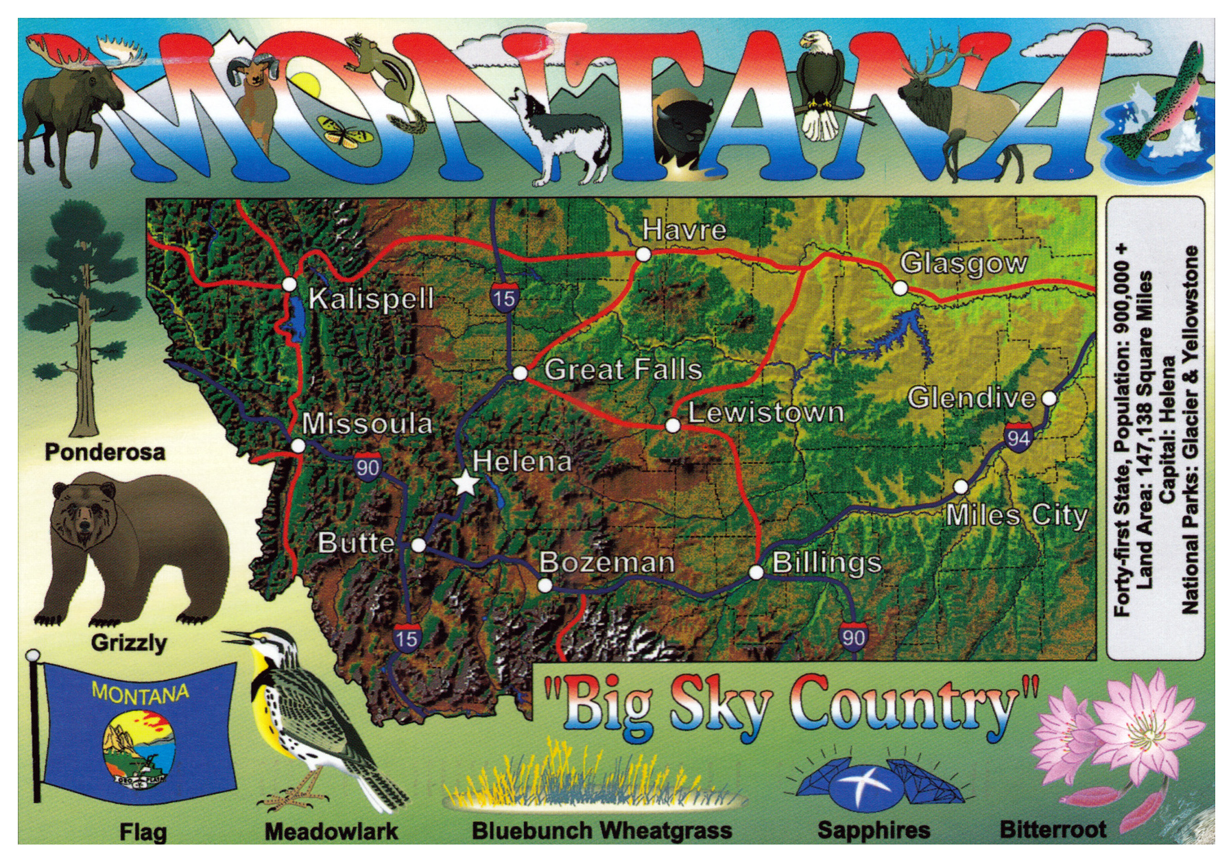 Large Tourist Map Of Montana State Montana State Large Tourist - Montana state map