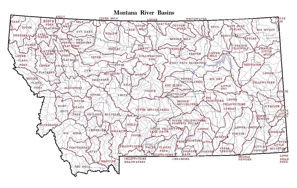 Map of Montana state River Basins. Montana state River ...