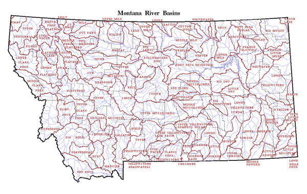 Map of Montana state River Basins. Montana state River Basins map.
