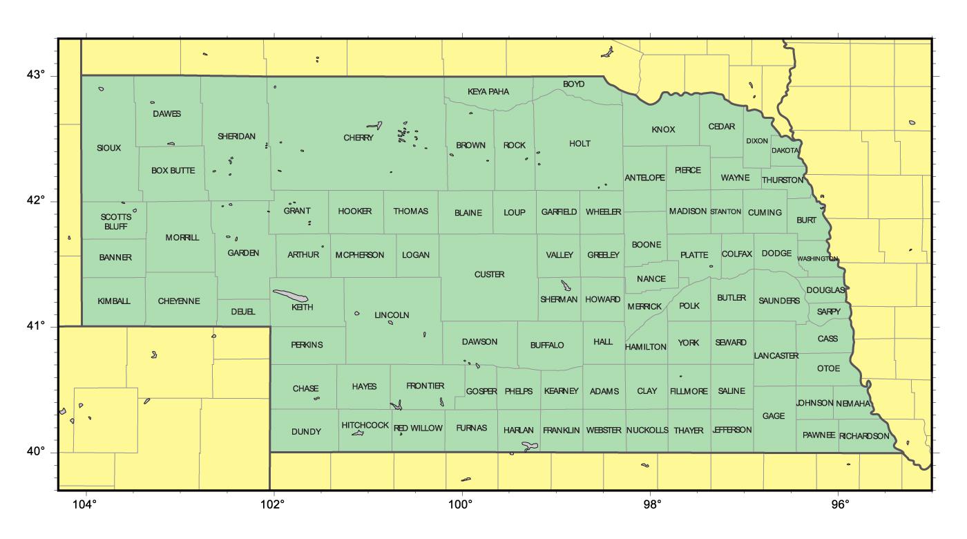 Detailed Administrative Map Of Nebraska State Vidiani Com Maps